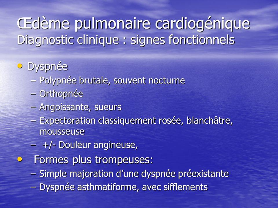 Œdème pulmonaire cardiogénique Diagnostic clinique : signes fonctionnels