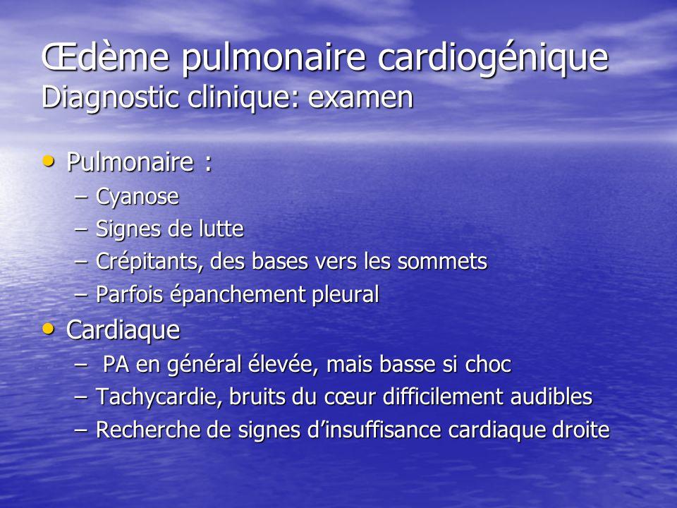 Œdème pulmonaire cardiogénique Diagnostic clinique: examen