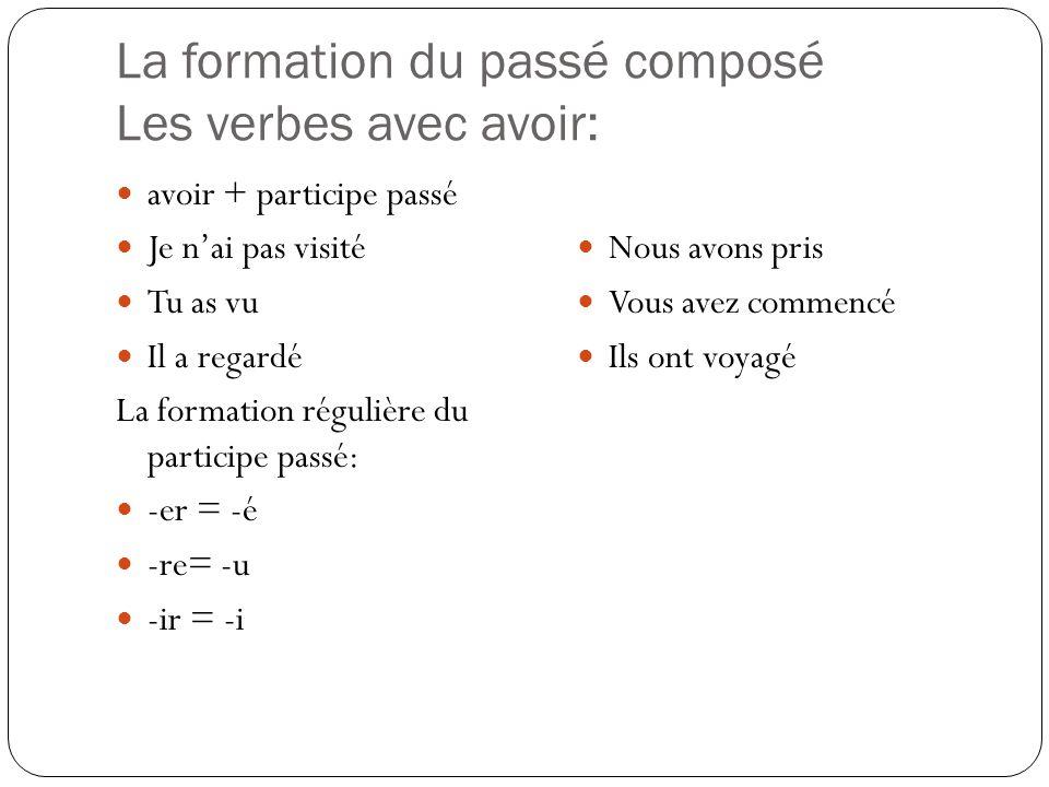 La formation du passé composé Les verbes avec avoir: