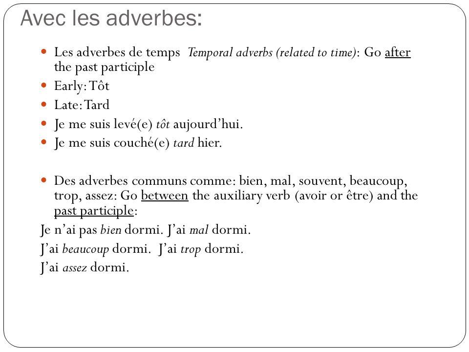 Avec les adverbes: Les adverbes de temps Temporal adverbs (related to time): Go after the past participle.