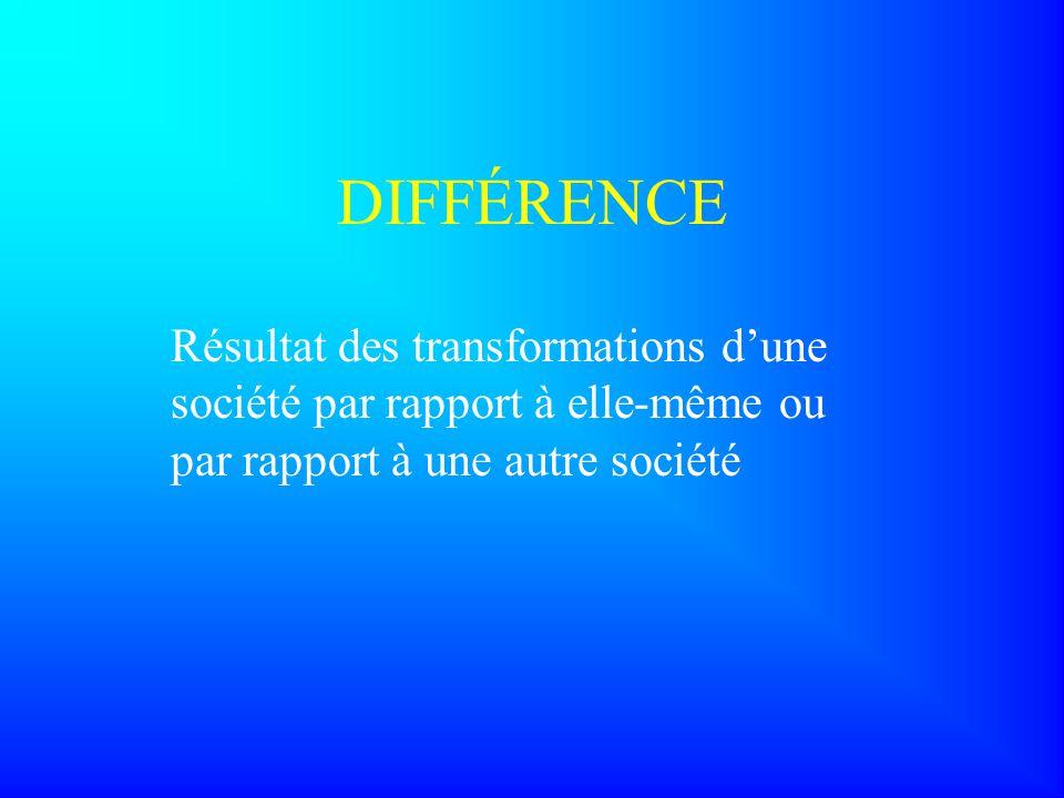 DIFFÉRENCE Résultat des transformations d'une société par rapport à elle-même ou par rapport à une autre société.