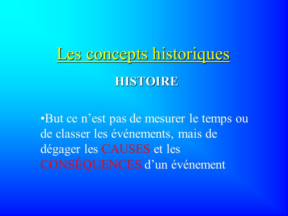 Les concepts historiques