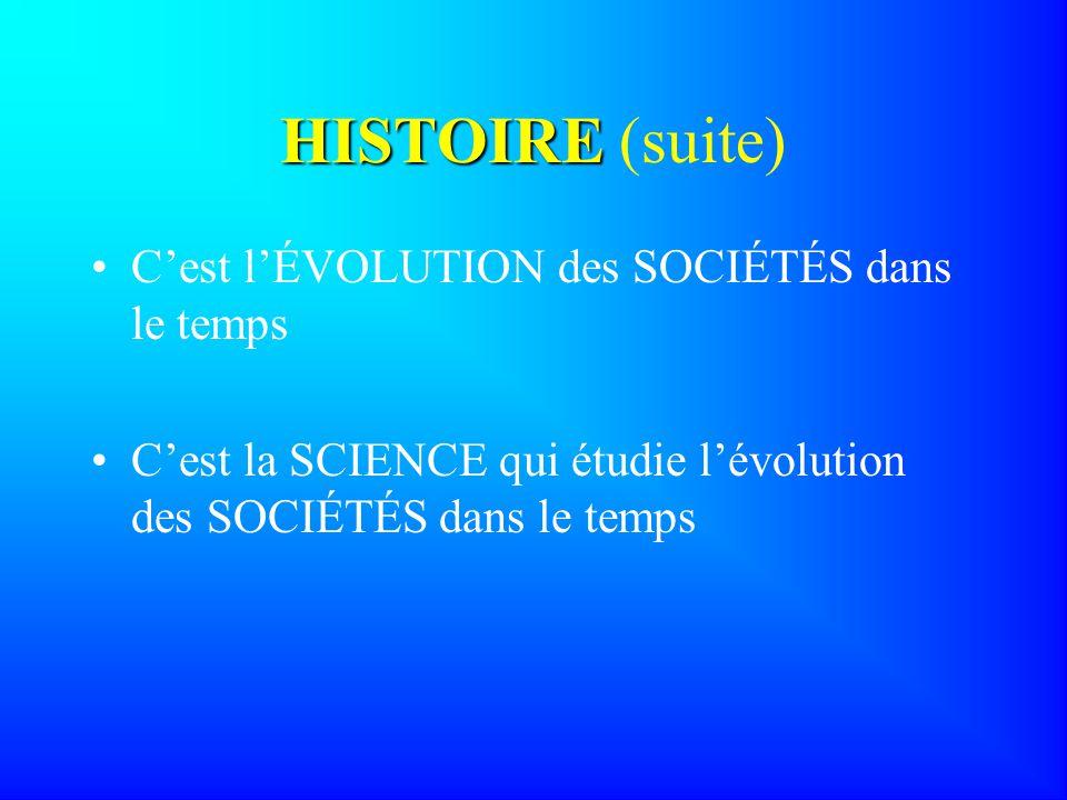 HISTOIRE (suite) C'est l'ÉVOLUTION des SOCIÉTÉS dans le temps