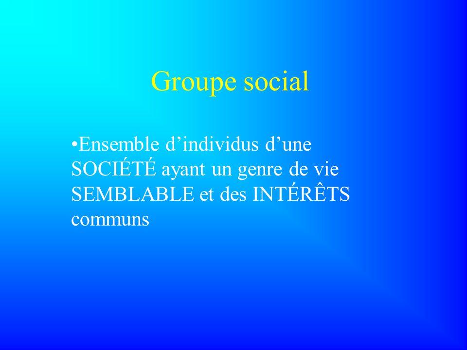 Groupe social Ensemble d'individus d'une SOCIÉTÉ ayant un genre de vie SEMBLABLE et des INTÉRÊTS communs.