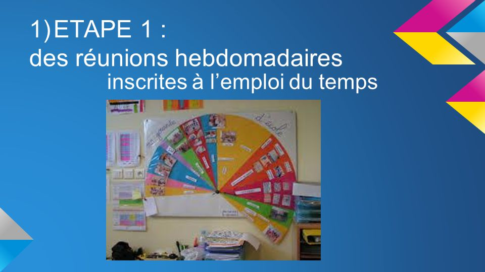 ETAPE 1 : des réunions hebdomadaires