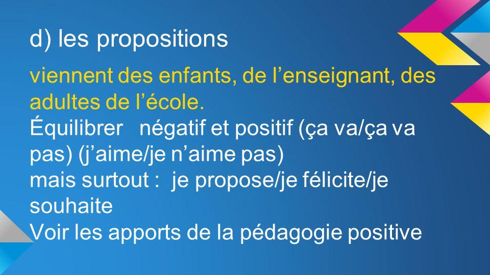 d) les propositions viennent des enfants, de l'enseignant, des adultes de l'école.