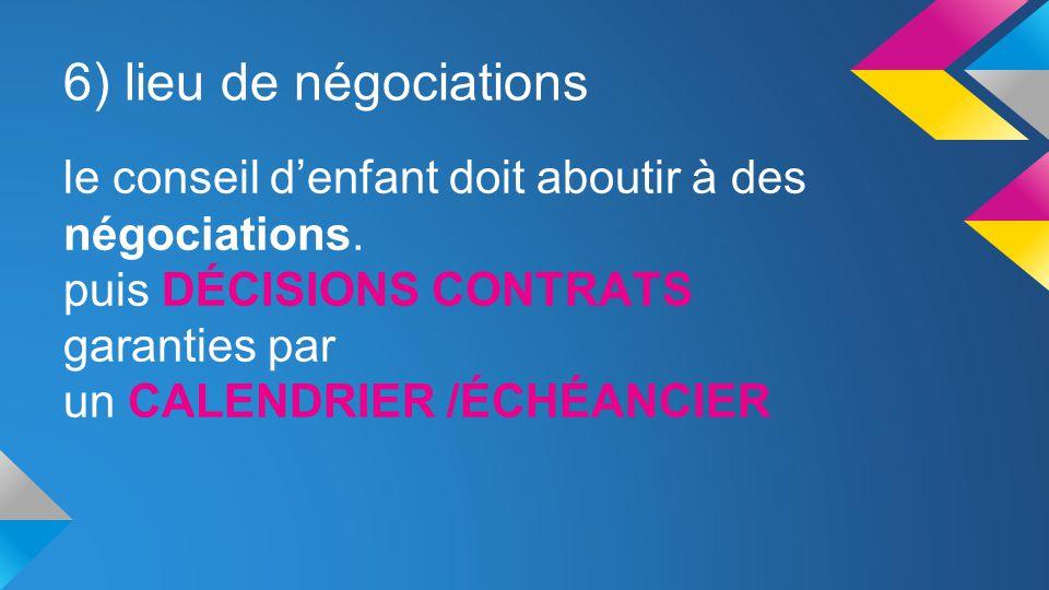 6) lieu de négociations le conseil d'enfant doit aboutir à des négociations. puis DÉCISIONS CONTRATS.