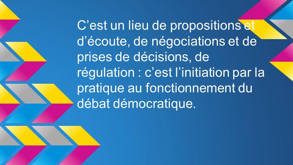 C'est un lieu de propositions et d'écoute, de négociations et de prises de décisions, de régulation : c'est l'initiation par la pratique au fonctionnement du débat démocratique.