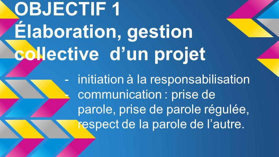 OBJECTIF 1 Élaboration, gestion collective d'un projet