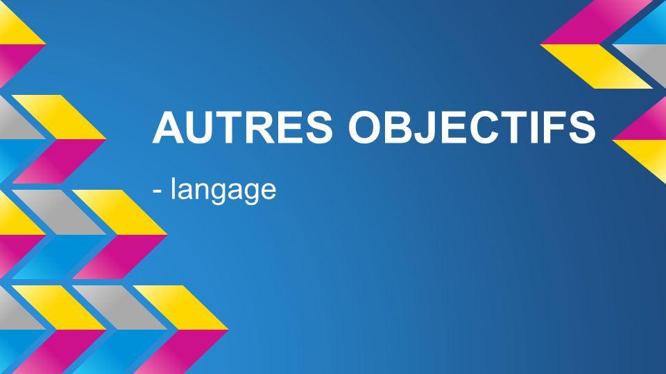 AUTRES OBJECTIFS - langage
