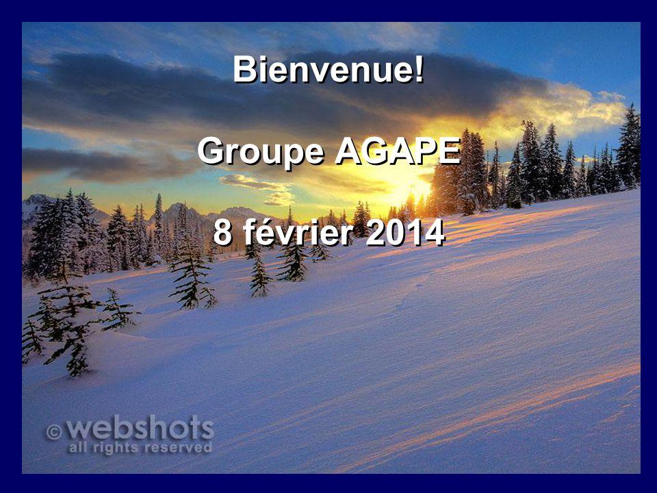 Bienvenue! Groupe AGAPE 8 février 2014