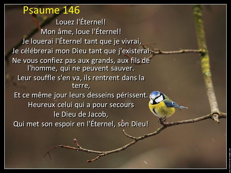 Psaume 146 Louez l Éternel! Mon âme, loue l Éternel!