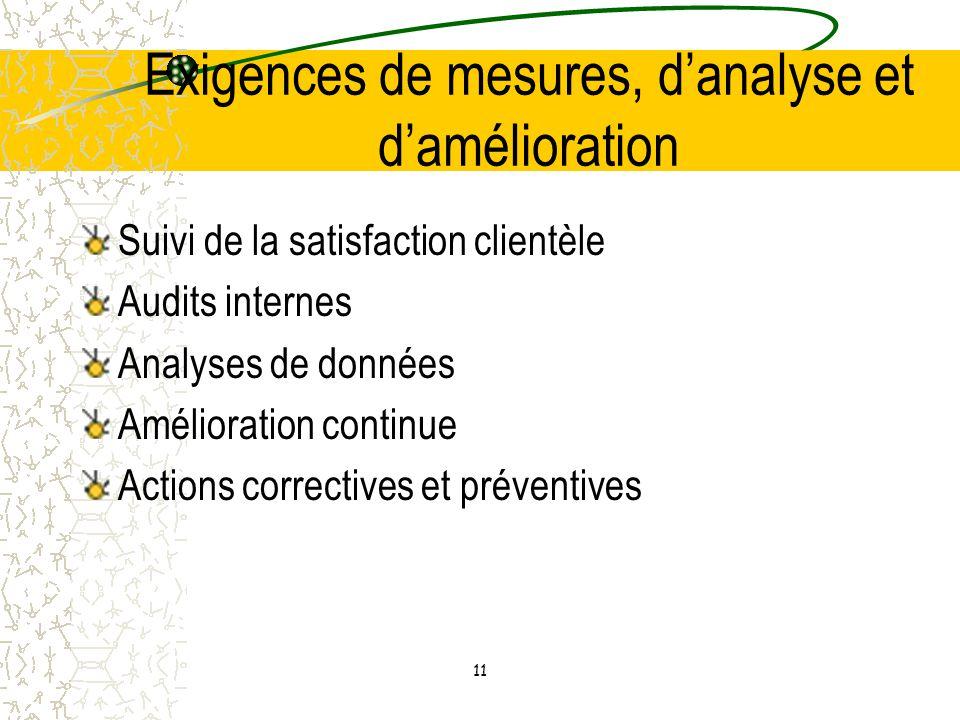 Exigences de mesures, d'analyse et d'amélioration