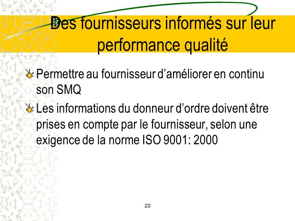 Des fournisseurs informés sur leur performance qualité