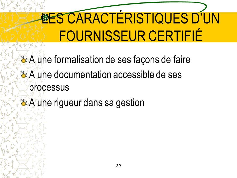 LES CARACTÉRISTIQUES D'UN FOURNISSEUR CERTIFIÉ