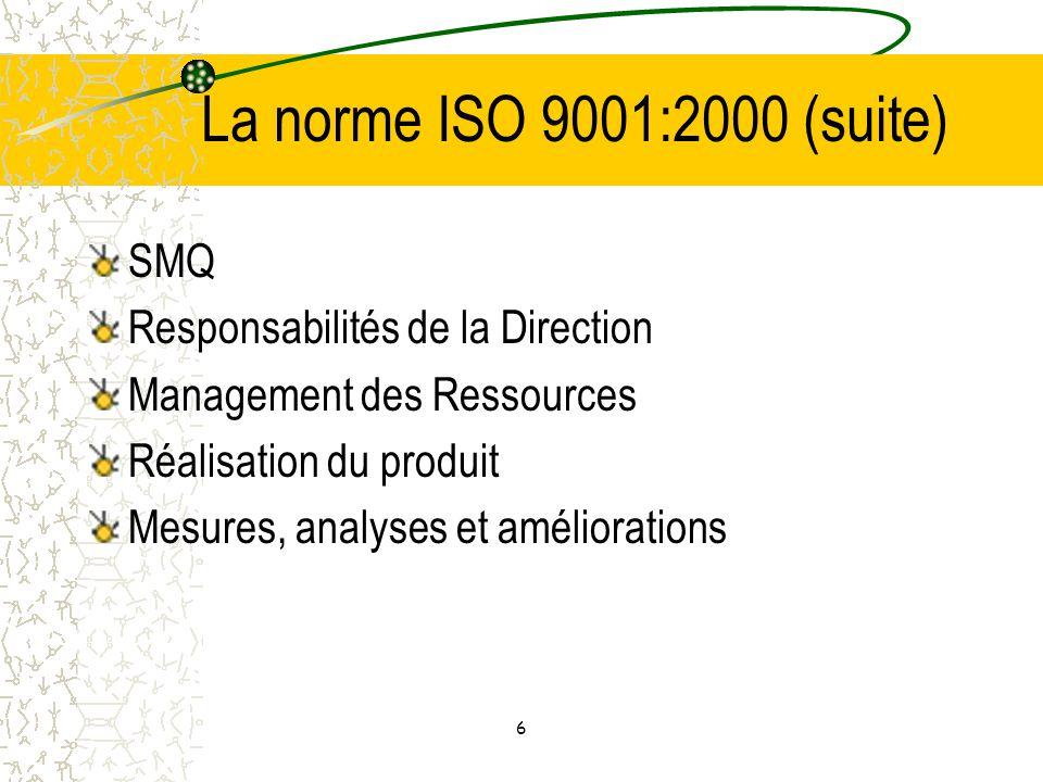 La norme ISO 9001:2000 (suite) SMQ Responsabilités de la Direction