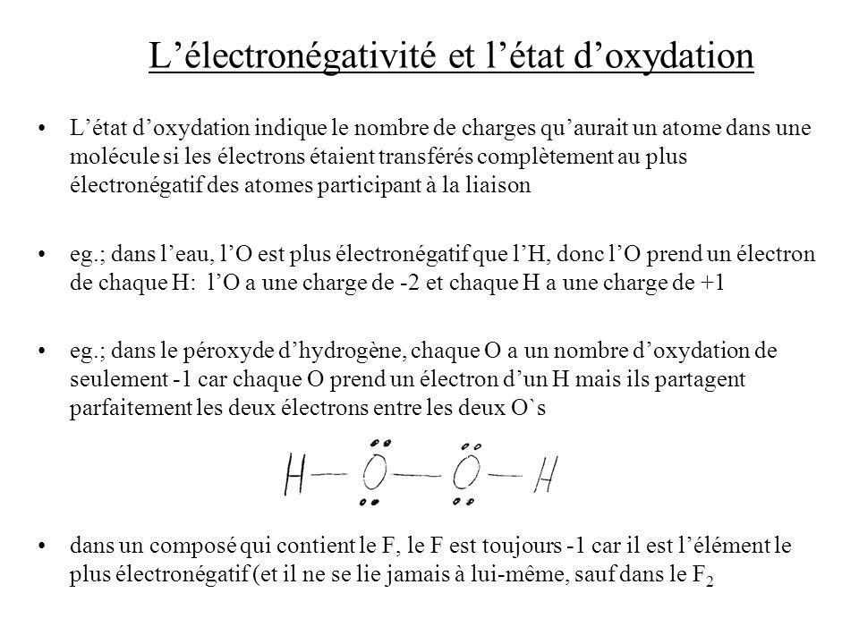 L'électronégativité et l'état d'oxydation
