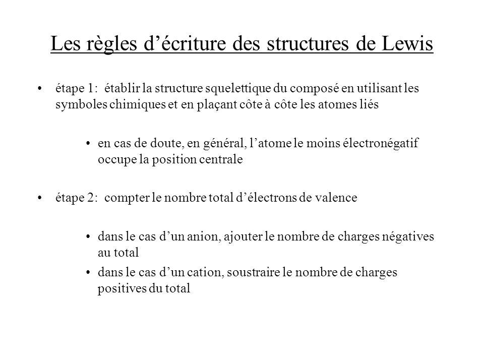 Les règles d'écriture des structures de Lewis