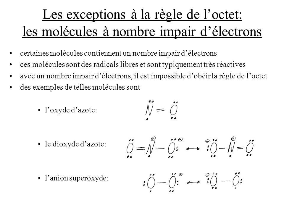Les exceptions à la règle de l'octet: les molécules à nombre impair d'électrons