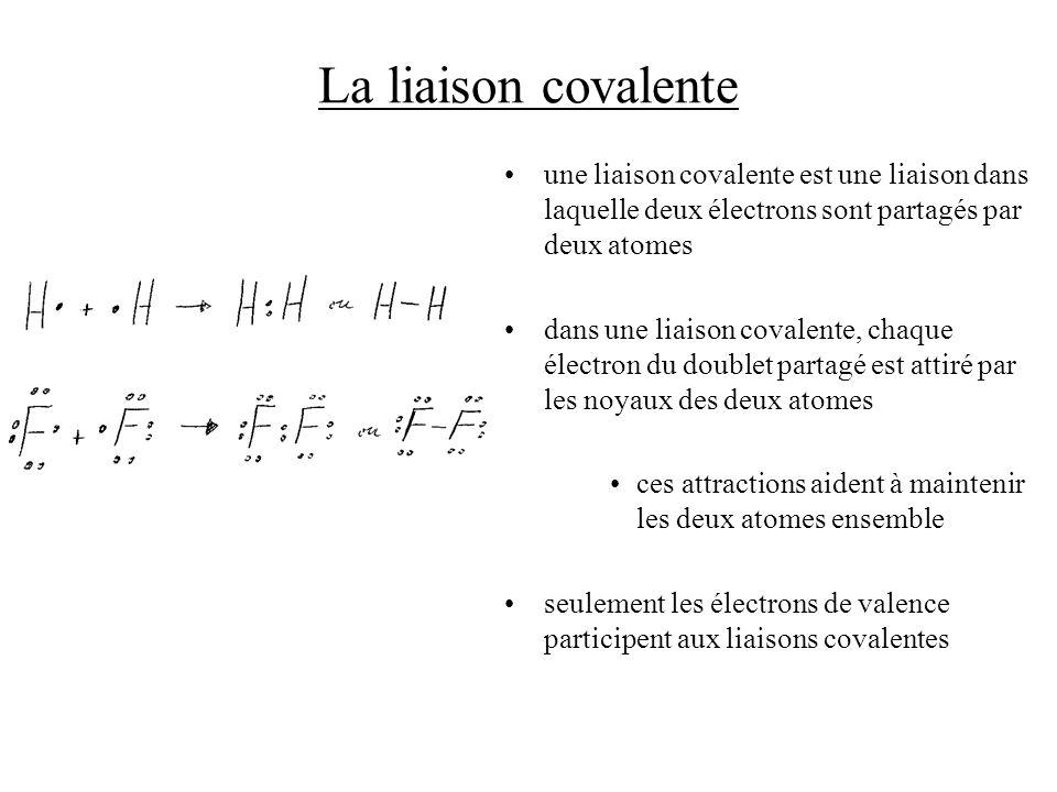 La liaison covalente une liaison covalente est une liaison dans laquelle deux électrons sont partagés par deux atomes.