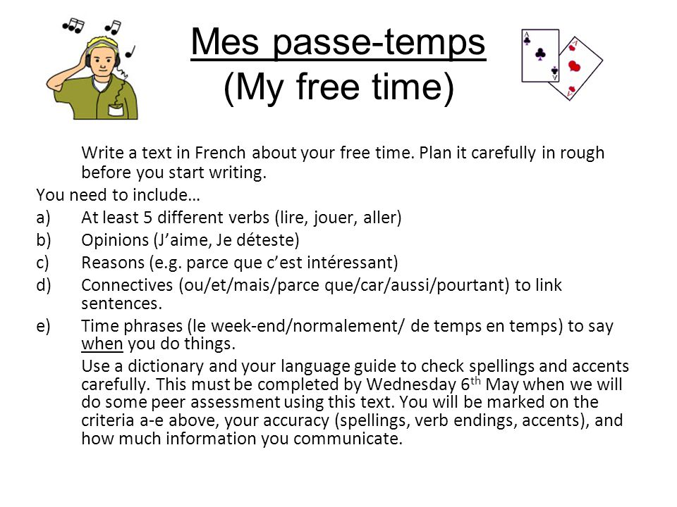 Mes passe-temps (My free time)