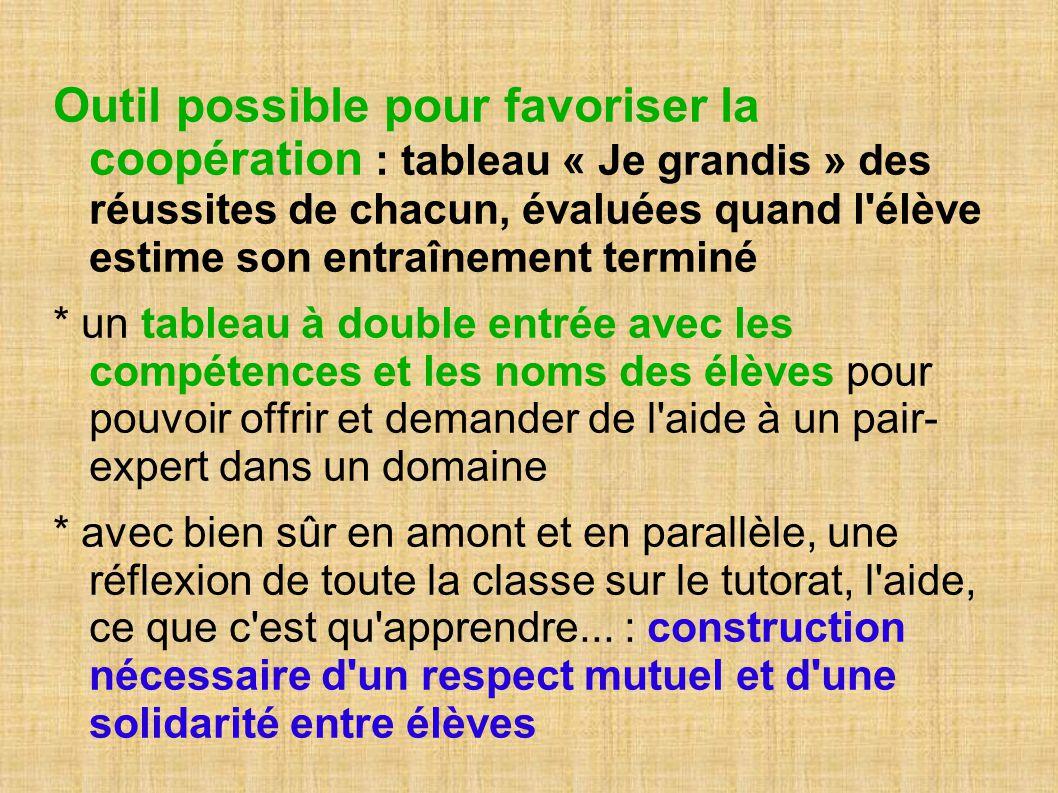 Outil possible pour favoriser la coopération : tableau « Je grandis » des réussites de chacun, évaluées quand l élève estime son entraînement terminé