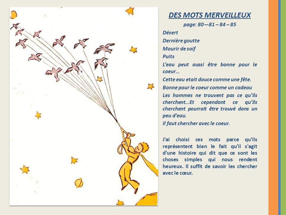 DES MOTS MERVEILLEUX page: 80—81 – 84 – 85 Désert Dernière goutte