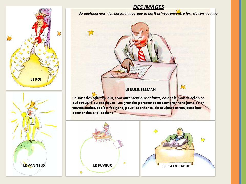 DES IMAGES de quelques-uns des personnages que le petit prince rencontre lors de son voyage: LE ROI.