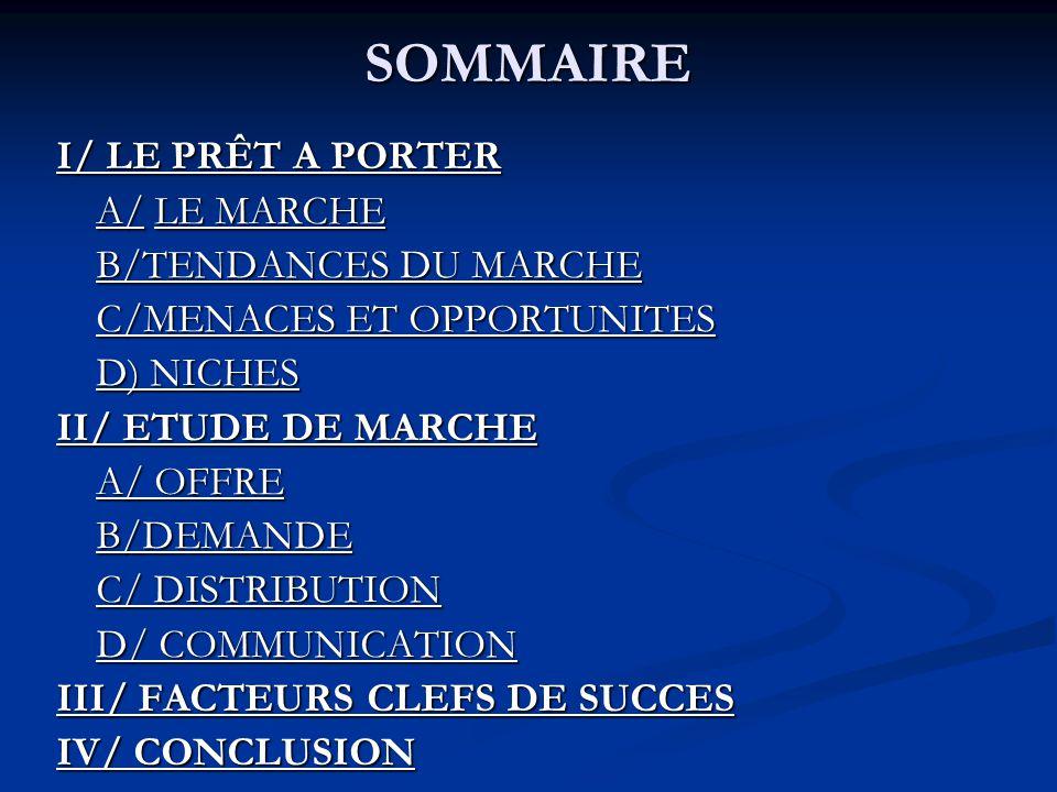 SOMMAIRE I/ LE PRÊT A PORTER A/ LE MARCHE B/TENDANCES DU MARCHE