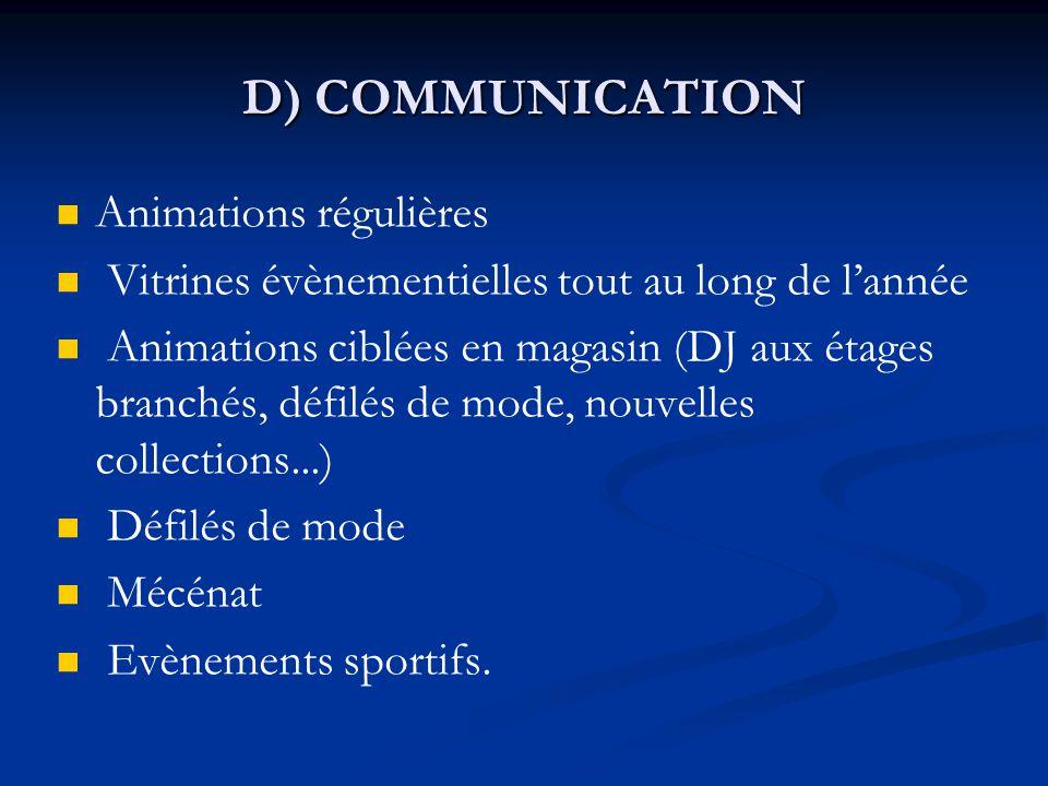 D) COMMUNICATION Animations régulières