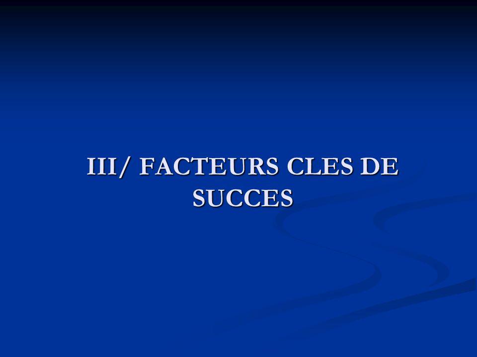 III/ FACTEURS CLES DE SUCCES