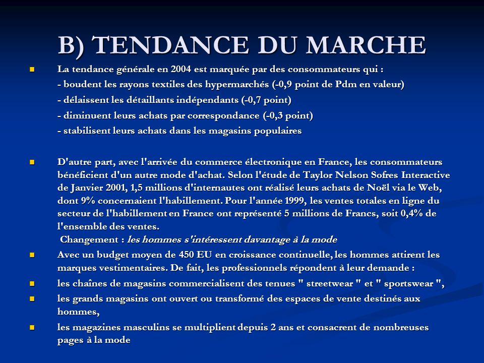 B) TENDANCE DU MARCHE La tendance générale en 2004 est marquée par des consommateurs qui :