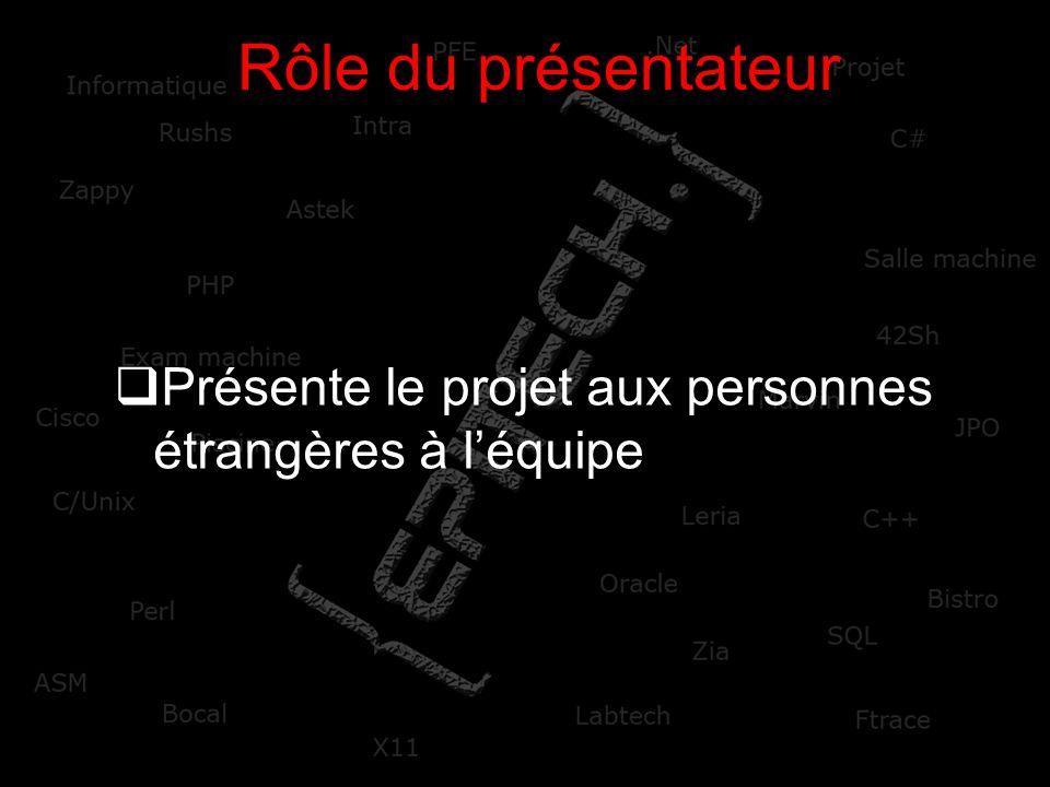Rôle du présentateur Présente le projet aux personnes étrangères à l'équipe