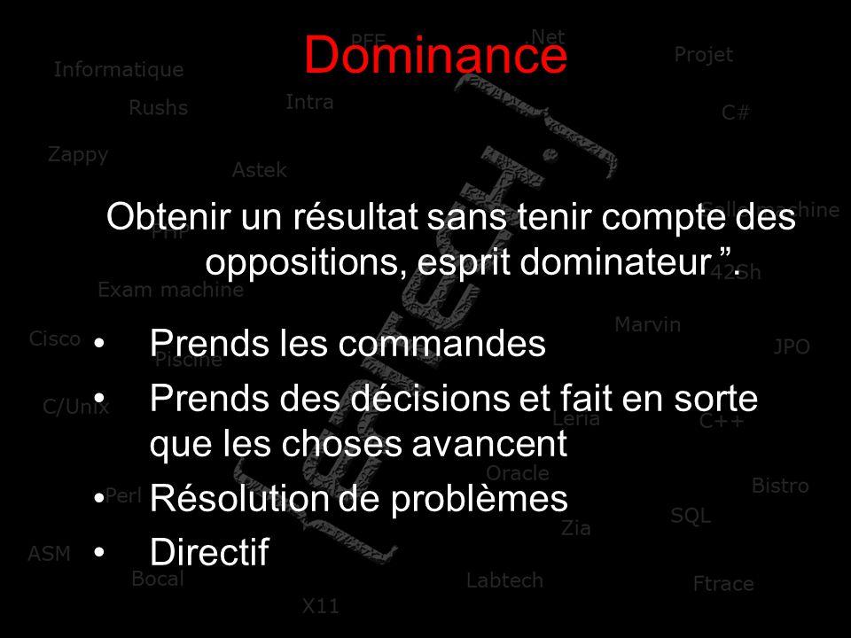Dominance Obtenir un résultat sans tenir compte des oppositions, esprit dominateur . Prends les commandes.