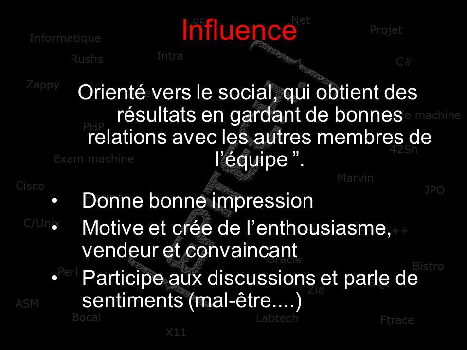 Influence Orienté vers le social, qui obtient des résultats en gardant de bonnes relations avec les autres membres de l'équipe .