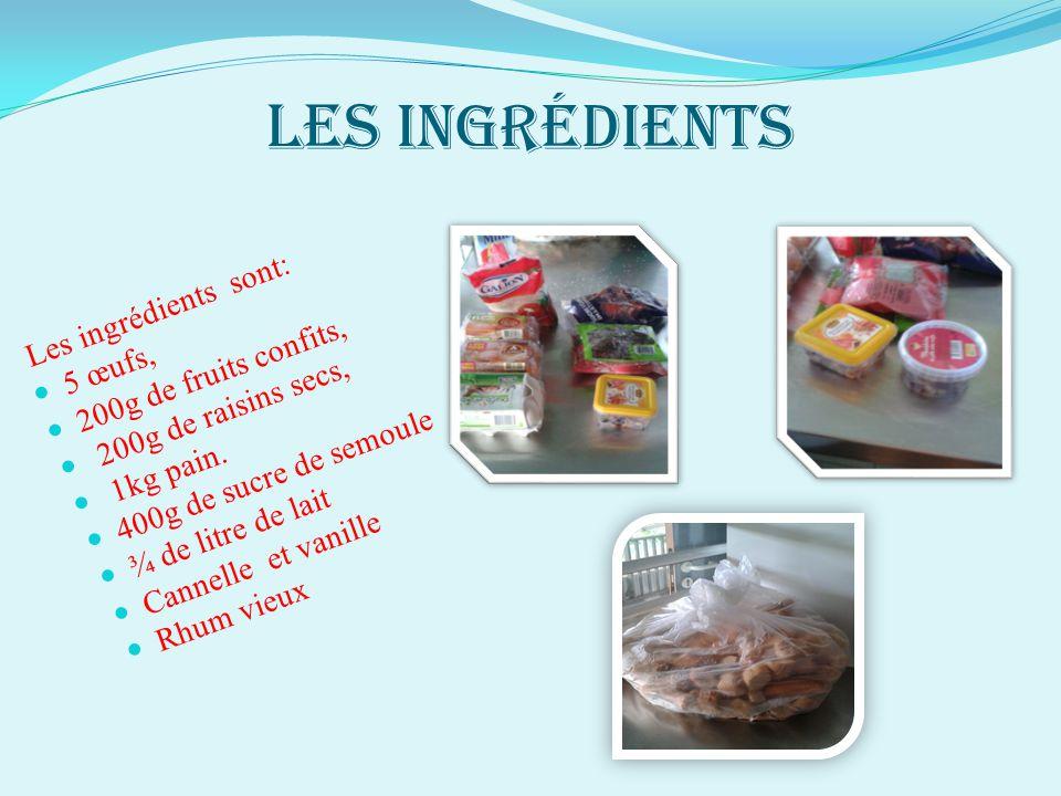 Les ingrédients 200g de fruits confits, 5 œufs, 200g de raisins secs,