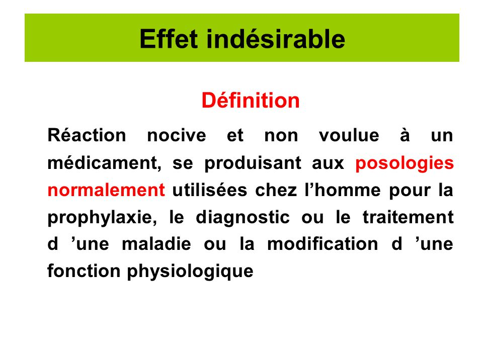 D stress effet indesirable