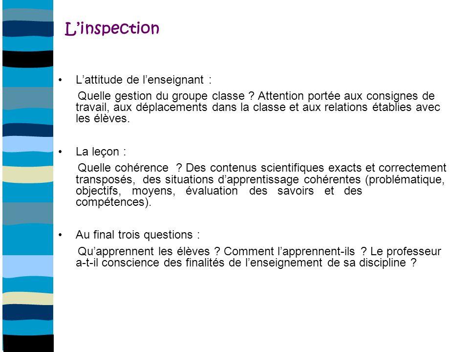 L'inspection L'attitude de l'enseignant :