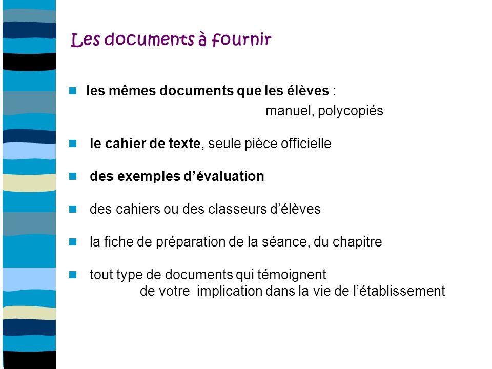 Les documents à fournir
