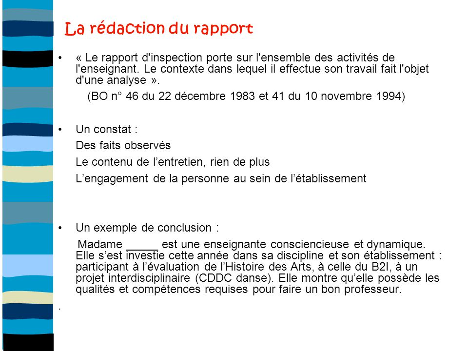 La rédaction du rapport