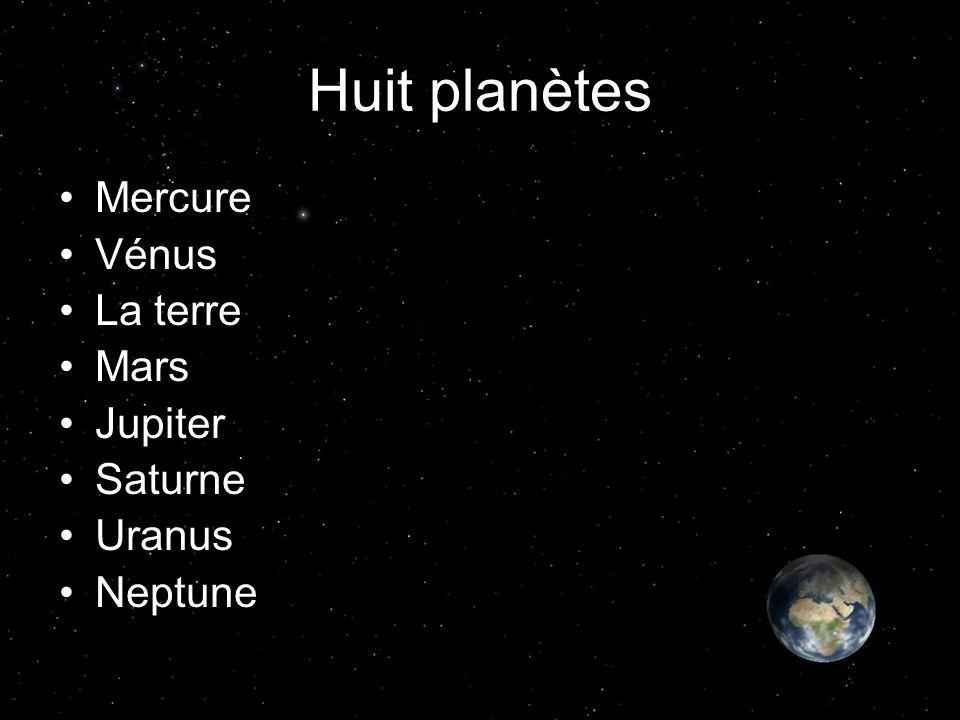 Huit planètes Mercure Vénus La terre Mars Jupiter Saturne Uranus