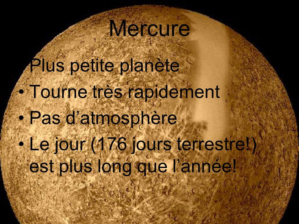 Mercure Plus petite planète Tourne très rapidement Pas d'atmosphère
