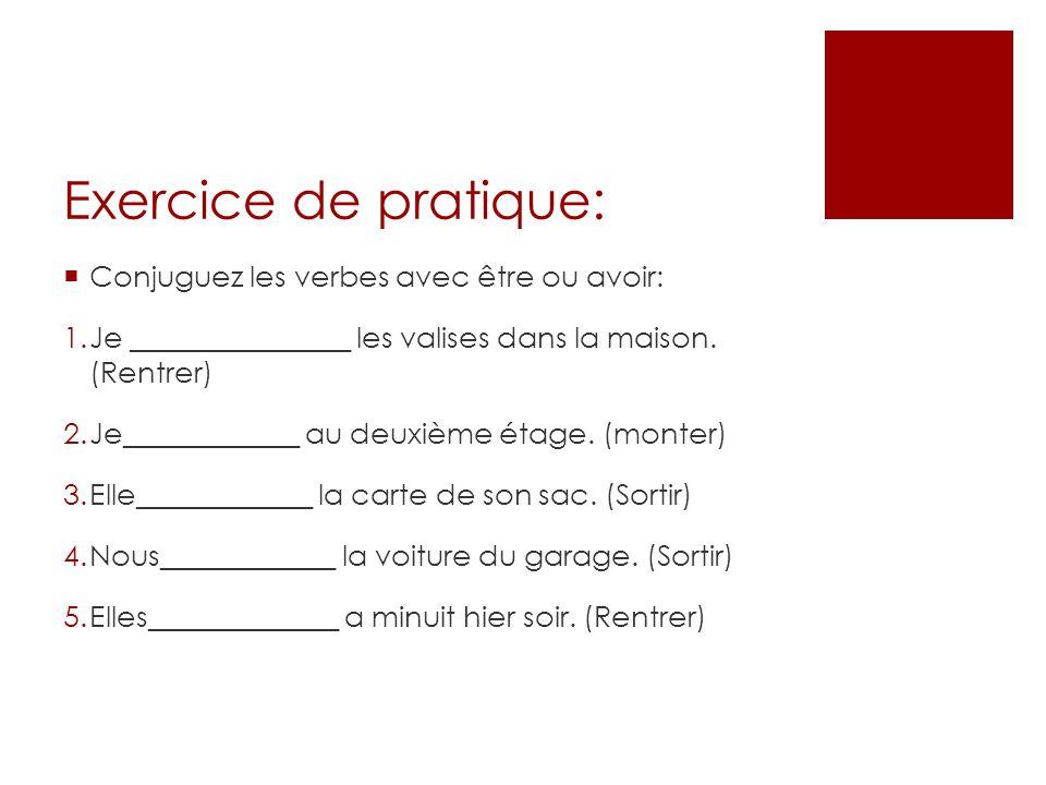 passe compose avoir exercices pdf