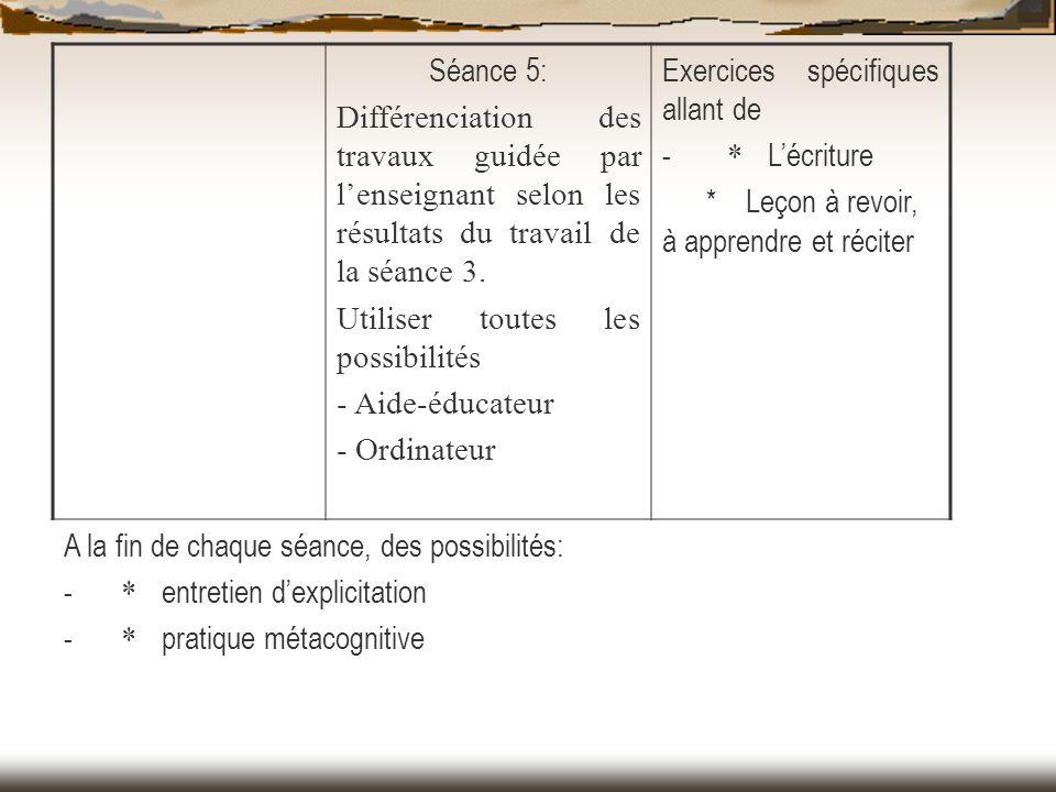 Séance 5: Différenciation des travaux guidée par l'enseignant selon les résultats du travail de la séance 3.