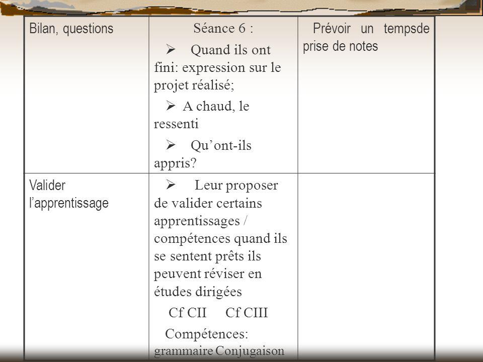 Bilan, questions Séance 6 : Ø Quand ils ont fini: expression sur le projet réalisé; Ø A chaud, le ressenti.