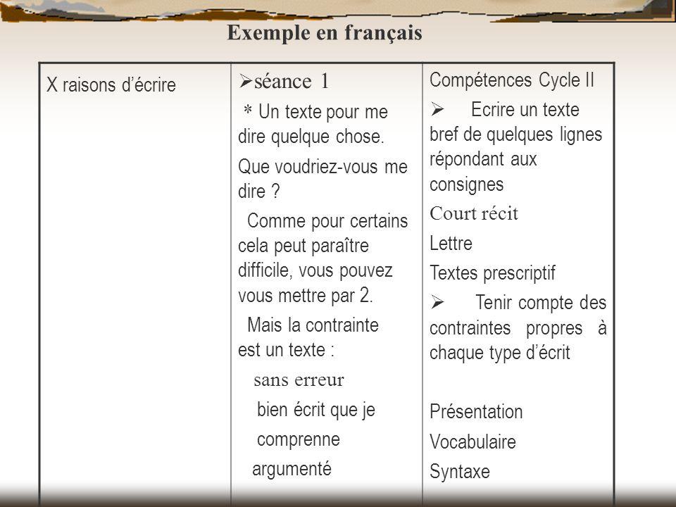 Exemple en français X raisons d'écrire Ø séance 1