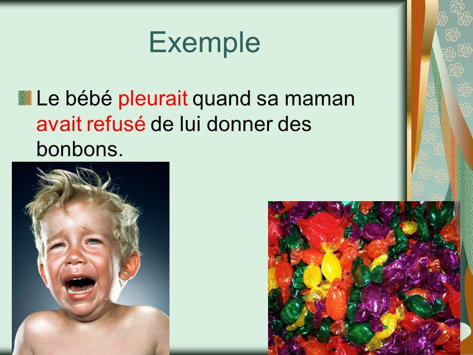 Exemple Le bébé pleurait quand sa maman avait refusé de lui donner des bonbons.