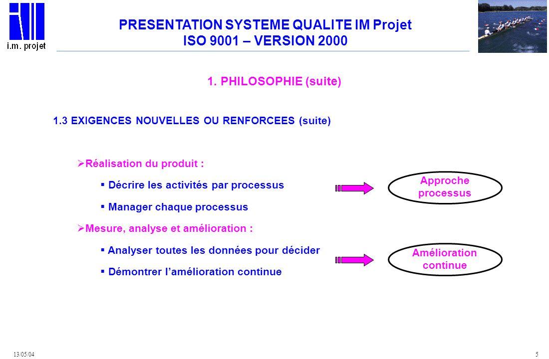 PRESENTATION SYSTEME QUALITE IM Projet Amélioration continue