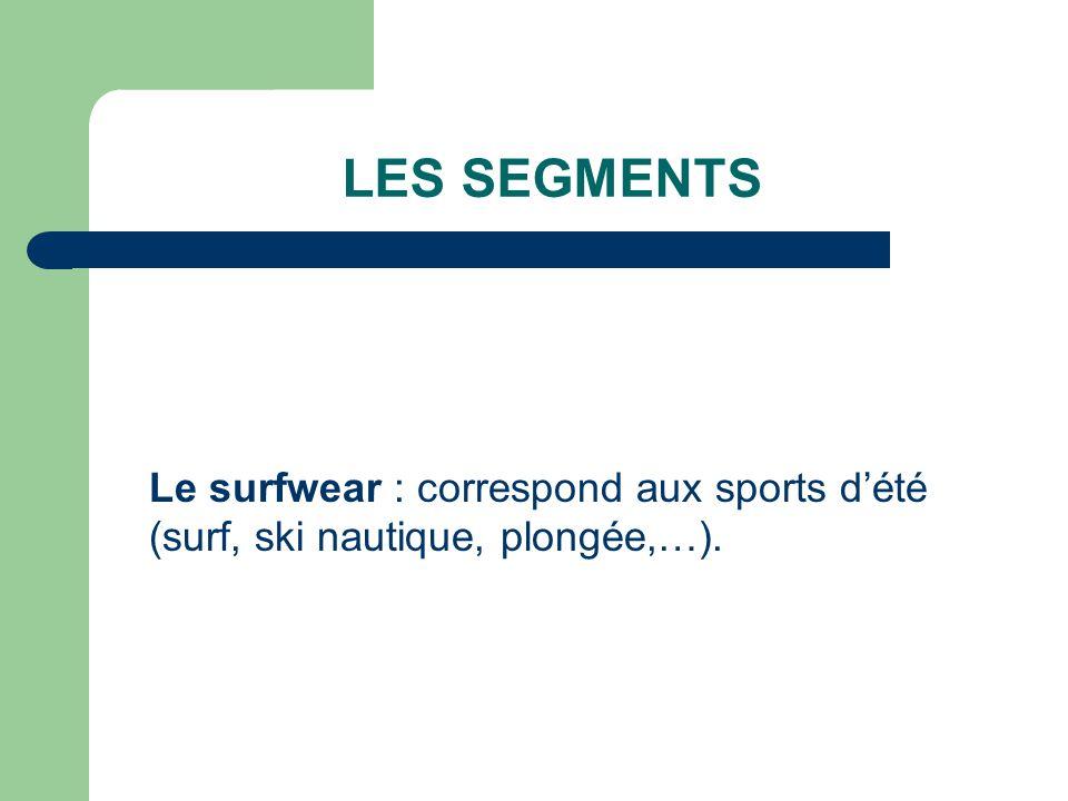 LES SEGMENTS Le surfwear : correspond aux sports d'été (surf, ski nautique, plongée,…).