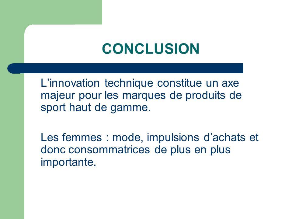 CONCLUSION L'innovation technique constitue un axe majeur pour les marques de produits de sport haut de gamme.